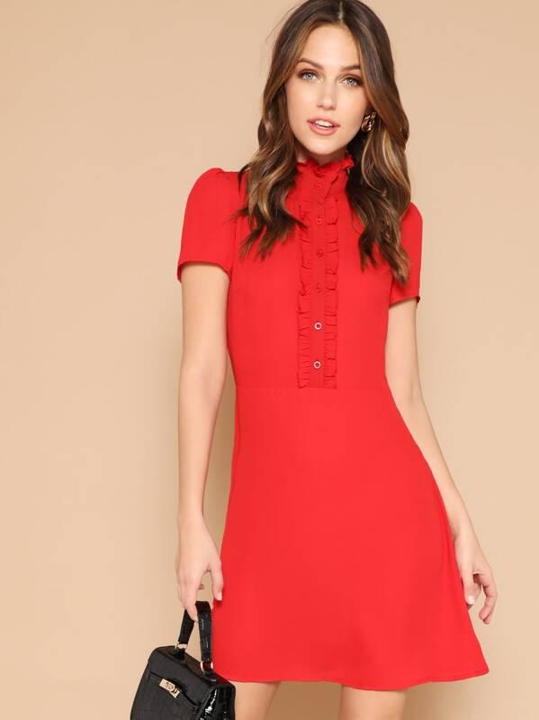 Frill Neck Ruffle Single Breasted Dress