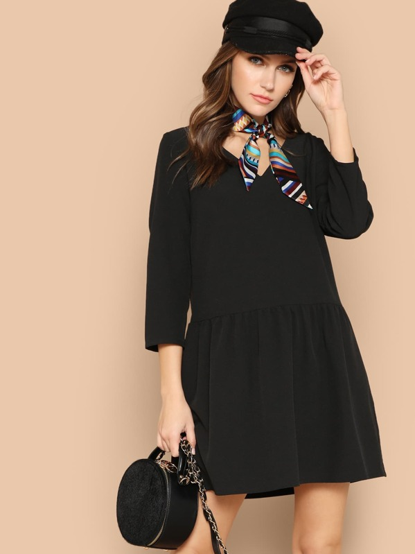 Button Back Drop Waist Dress With Scarf
