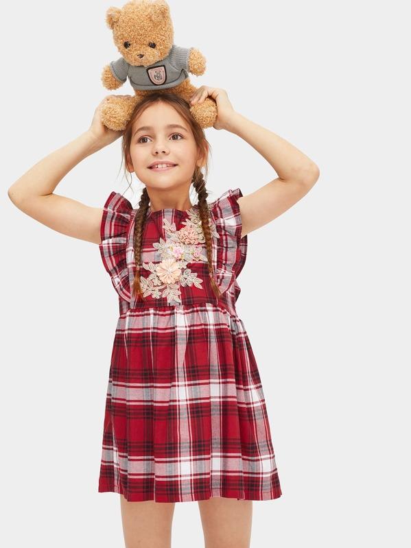 Toddler Girls Appliques Tartan Plaid Ruffle Dress