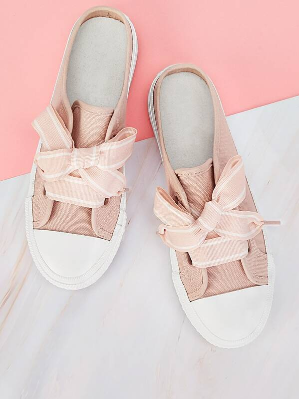 Lace-up Front Canvas Mules Sneakers