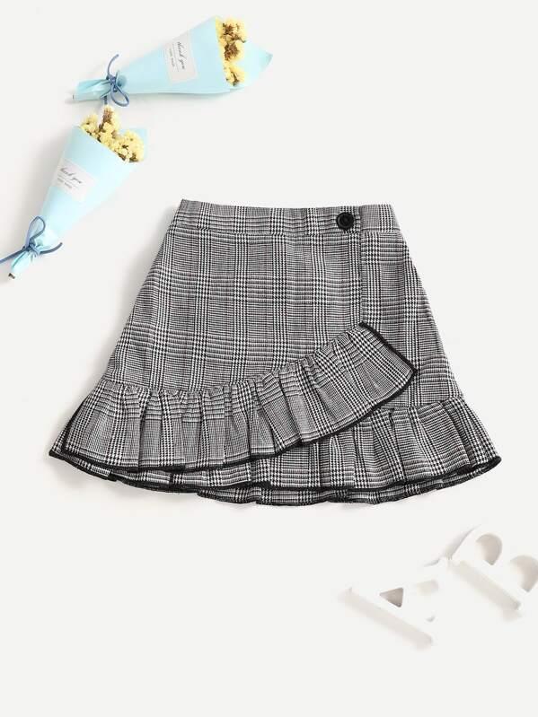 Toddler Girls Ruffle Hem Houndstooth Skirt, Black and white