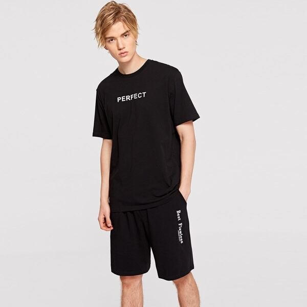 Men Letter Print Tee & Sweat Shorts Set, Black