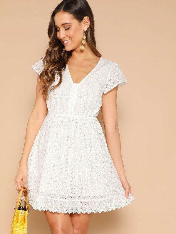 Lace Eyelet Single Breasted V-neck Dress