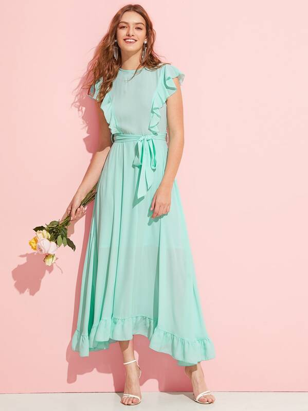Flounce Trim Self Belted Solid Dress