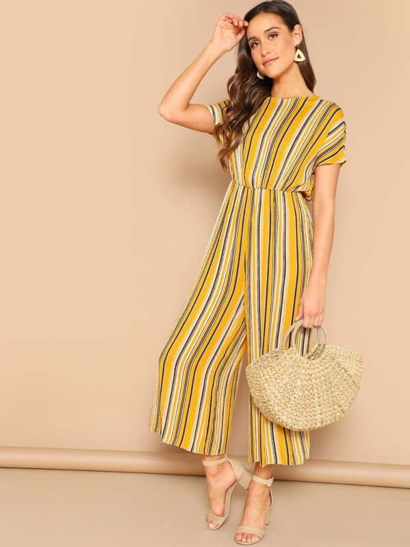 Knot Backless Striped Palazzo Jumpsuit