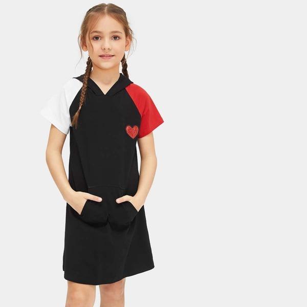 Toddler Girls Heart Sequin Contrast Sleeve Hooded Dress, Black