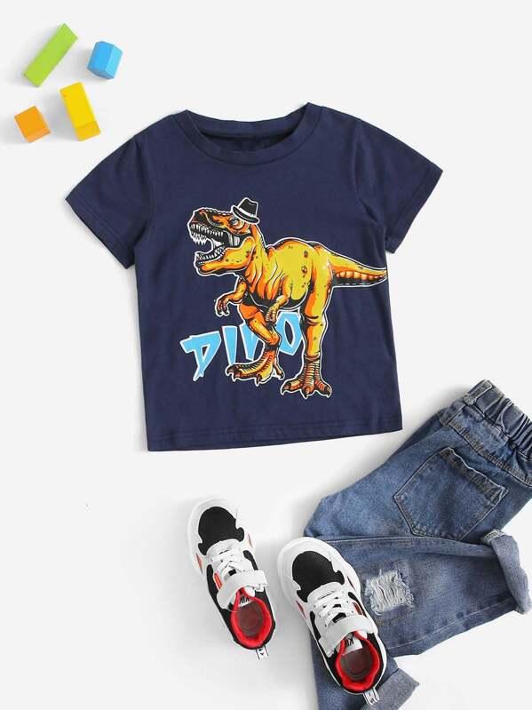Футболка с принтом динозавра для маленьких мальчиков