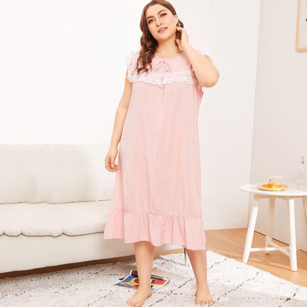 Plus Contrast Lace Ruffle Hem Night Dress, Pink pastel