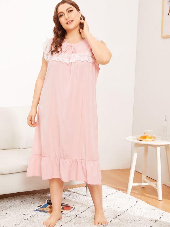 Plus Contrast Lace Ruffle Hem Night Dress, Franziska
