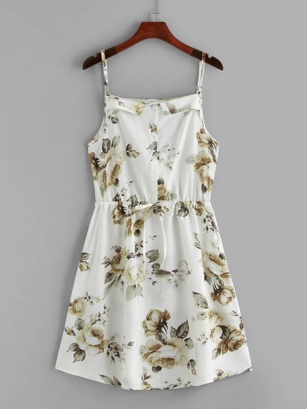 Floral Print Drawstring Waist Cami Dress, null