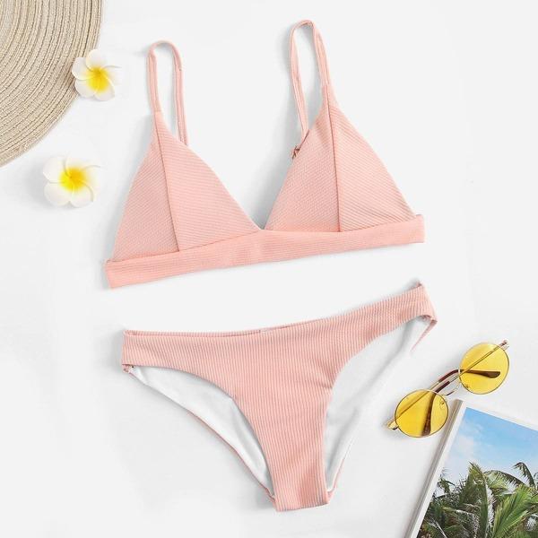 Ribbed Triangle Top With Panty Bikini Set