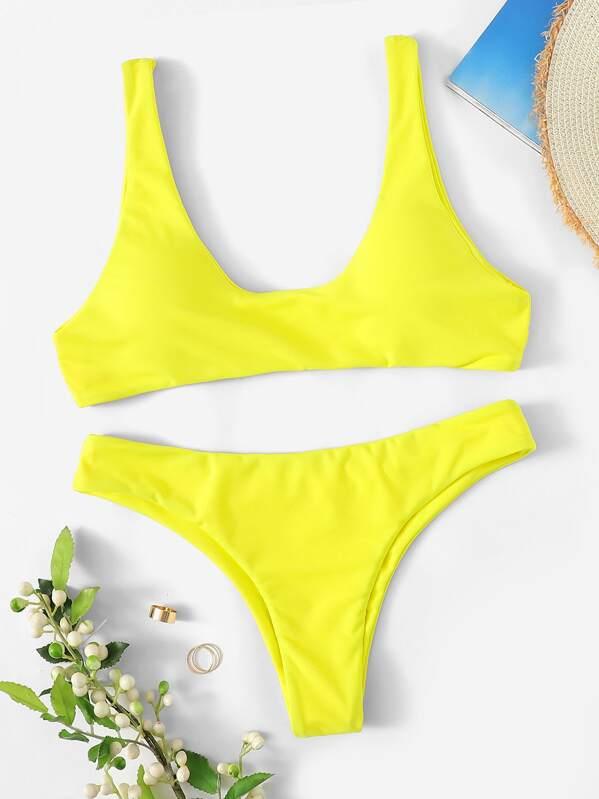 Neon Yellow Scoop Neck Top With Cheeky Bikini
