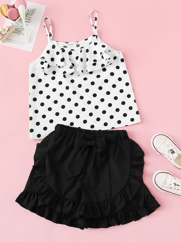 Girls Layered Ruffle Cami Top and Shorts Set