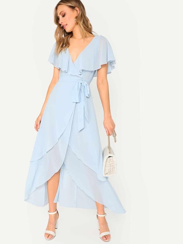 Self Belted Surplice Wrap Cape Dress, Blue, Katie Fitzsimmons