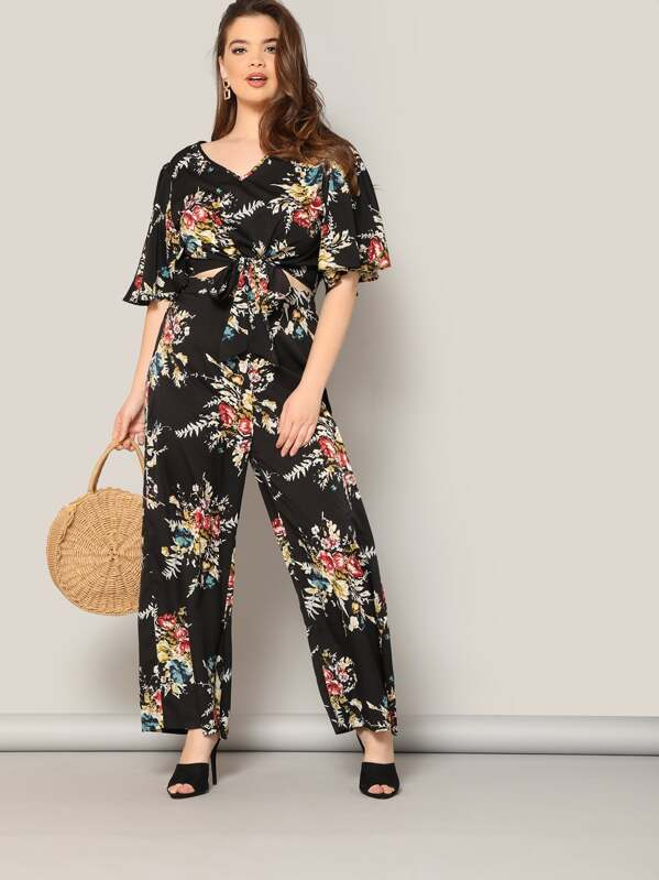 Plus Knot Hem Floral Top and Palazzo Pants Set