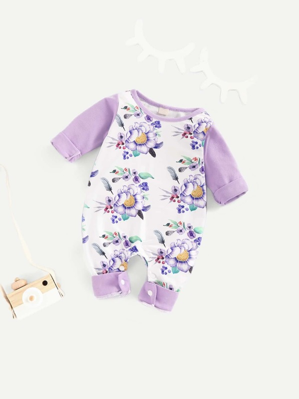 Toddler Girls Floral Print Button Jumpsuit, null