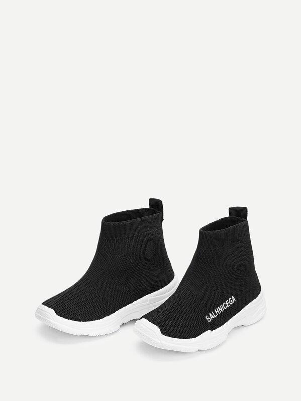Детские носки кроссовки с текстовым принтом