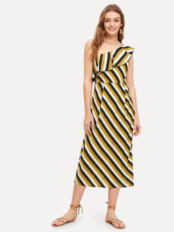 Ruffle One Shoulder Fold Pleat Detail Striped Dress