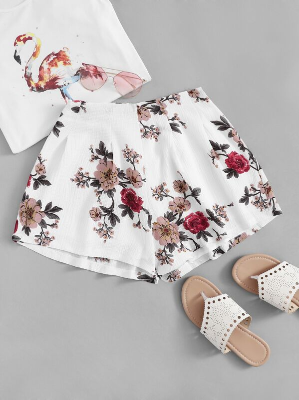 Floral Print Zip Side Shorts, null