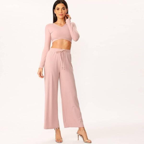 Rib-knit Cross Wrap Top & Drawstring Wide Pants Set