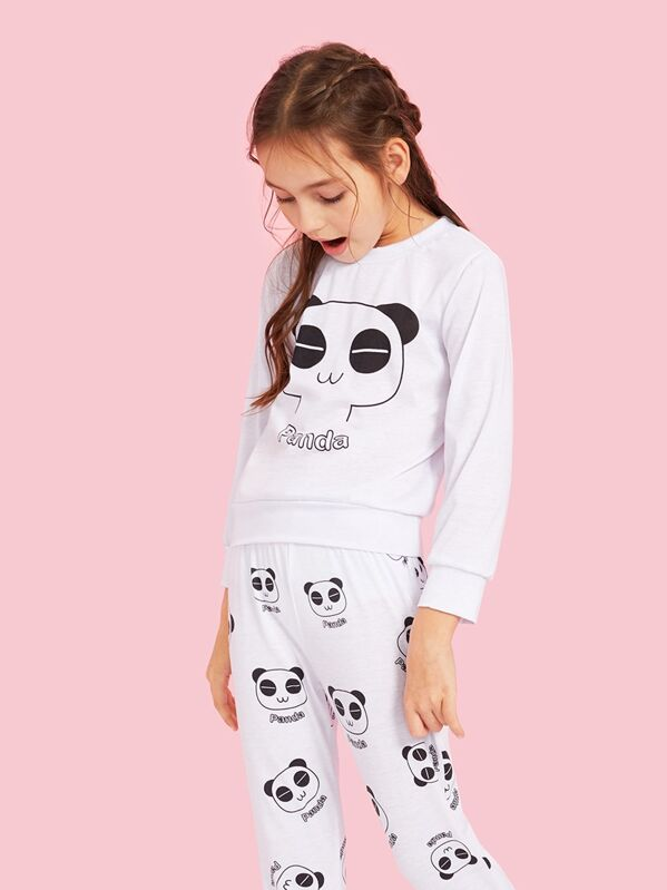 Girls Panda & Letter Print Pajama Set