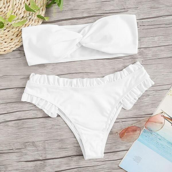 Twist Bandeau With Frill Trim Bikini Set
