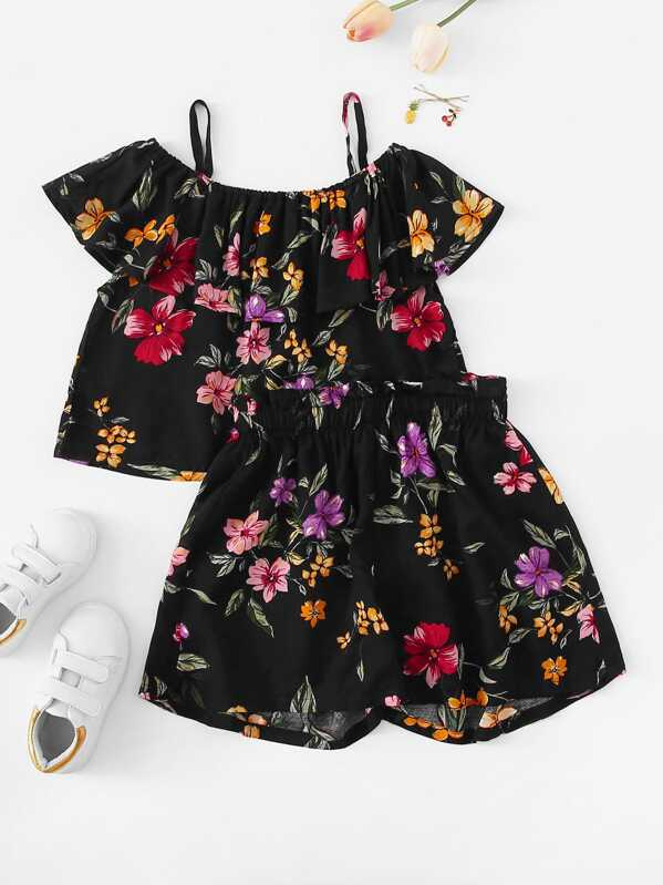 Girls Cold Shoulder Floral Print Top & Shorts Set
