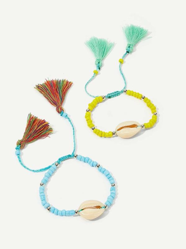 Shell & Tassel Detail Beaded Bracelet Set 2pcs