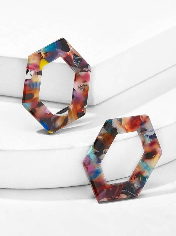 Marble Pattern Open Geometric Stud Earrings 1pair, null