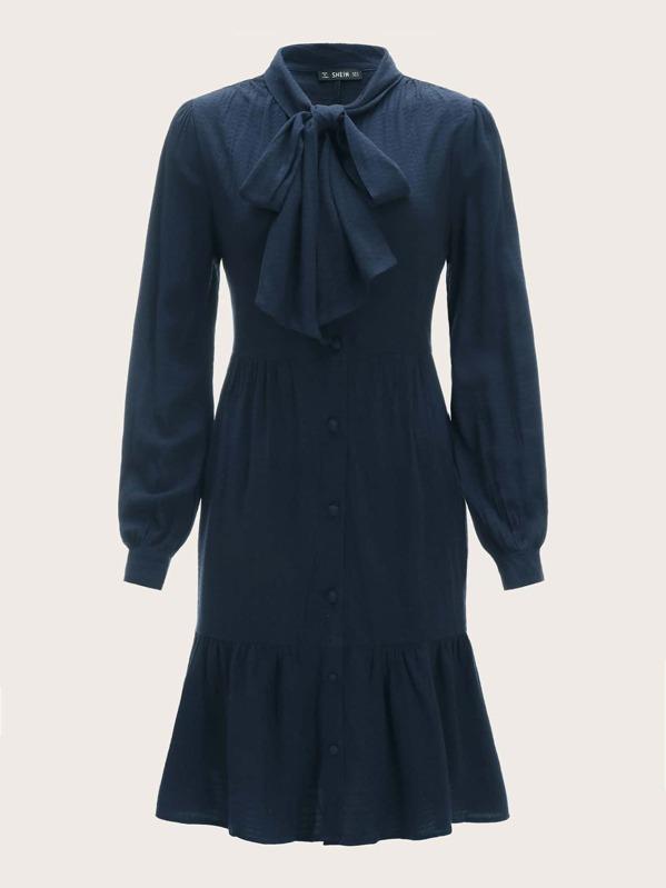 70s Tie Neck Single Breasted Ruffle Hem Dress