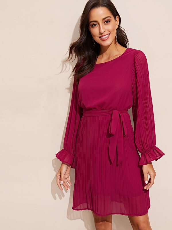 Waist Belted Bell Sleeve Pleated Dress, Mary P.