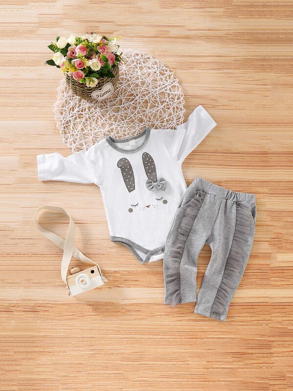 Baby Rabbit Print Jumpsuit With Contrast Mesh Pants
