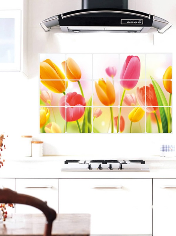Flower Print Oil-proof Wall Sticker