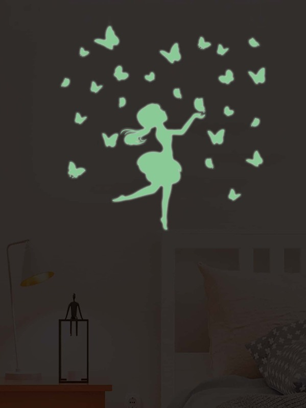 Girl & Butterfly Luminous Wall Sticker