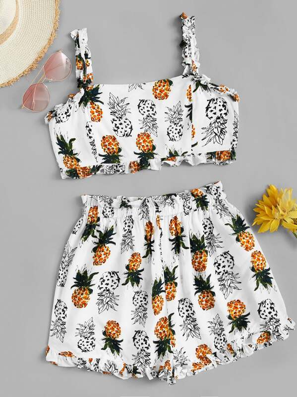 Pineapple Print Knot Back Frill Trim Cami Top With Shorts, null