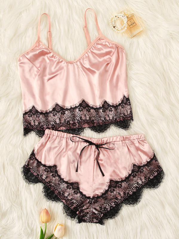 Scalloped Trim Contrast Lace Satin Cami PJ Set