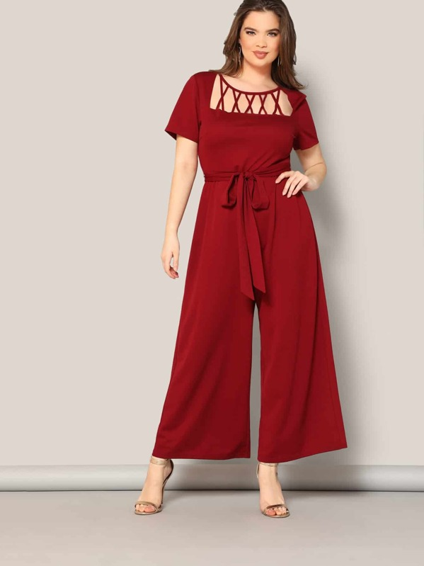 Plus Strappy Neck Wide Leg Belted Jumpsuit
