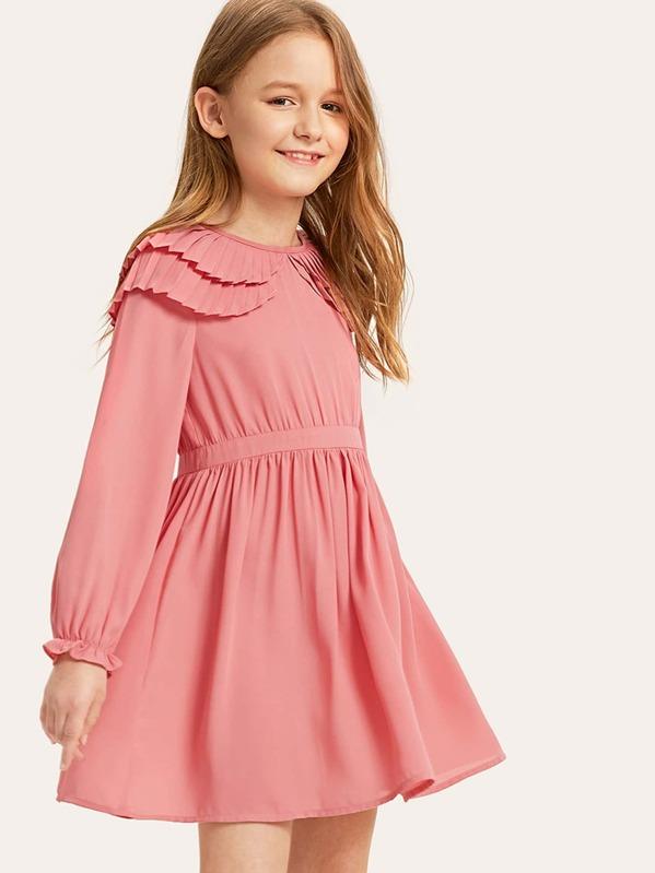 Girls Layered Pleated Ruffle Detail Dress