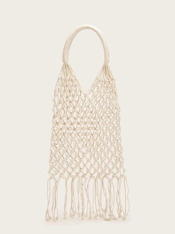Tassel Detail Fishnet Tote Bag