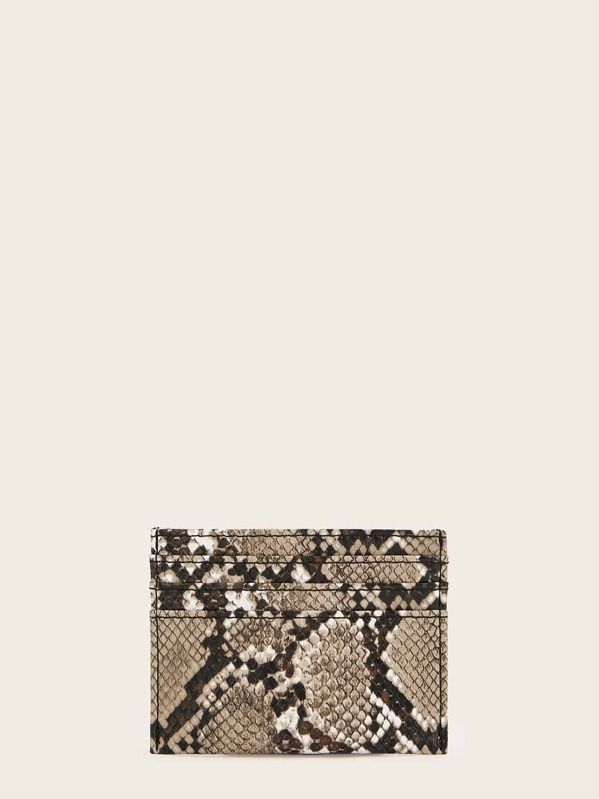 Snakeskin Print Card Pouch, Multicolor