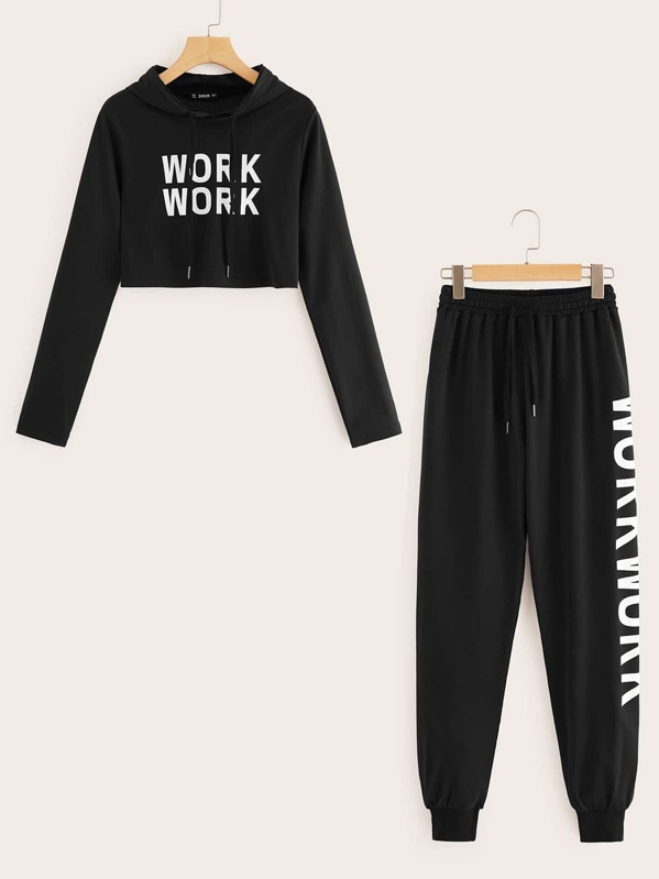 Letter Hoodie and Drawstring Waist Sweatpants Set