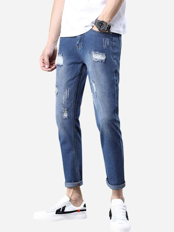 Men Rolled Hem Ripped Wash Jeans, null