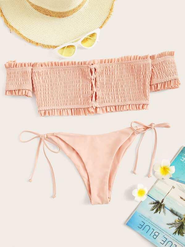 Smocked Bardot Top With Tie Side Bikini
