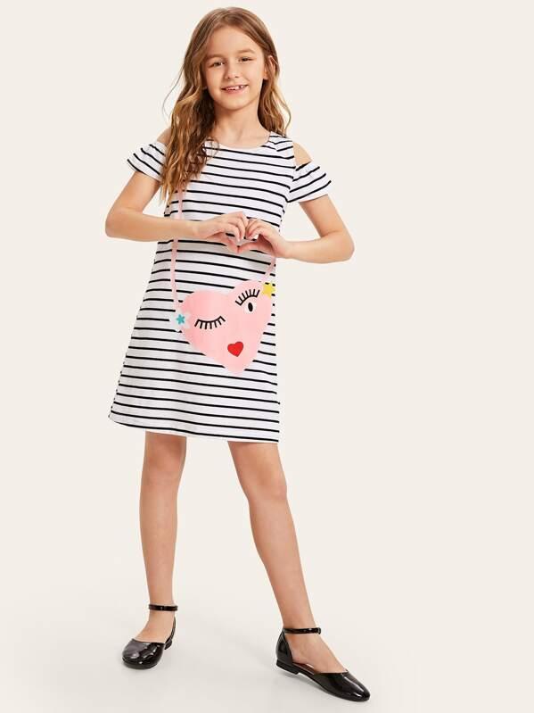 Girls Cold Shoulder Striped & Heart Print Tunic Dress