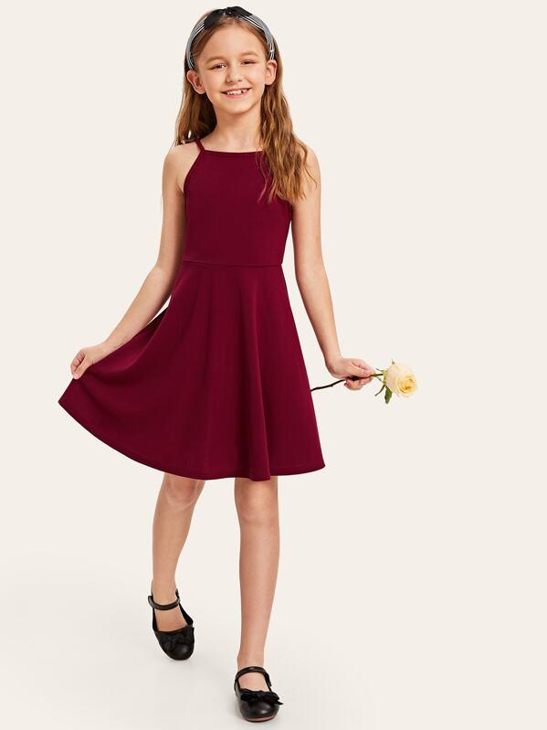 Girls Zip Back Fit & Flare Dress, Sashab