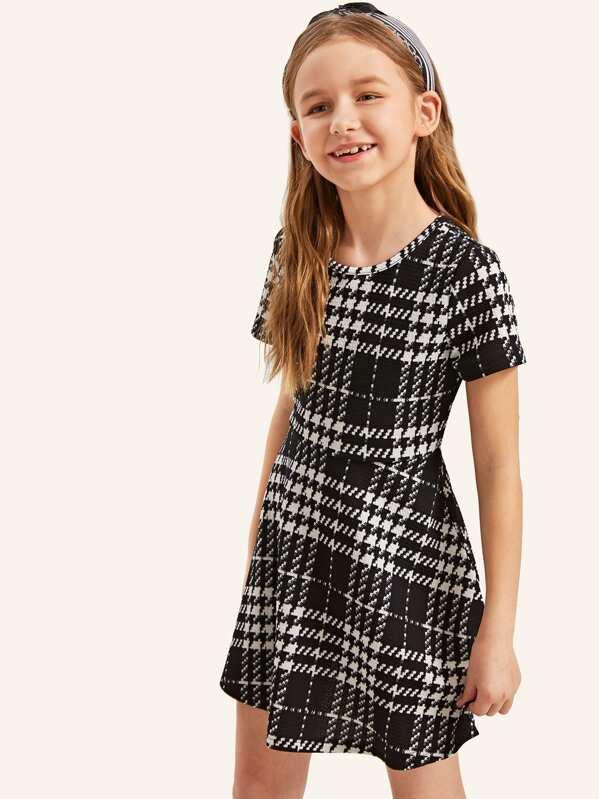 Girls Fit & Flare Plaid Dress, Sashab