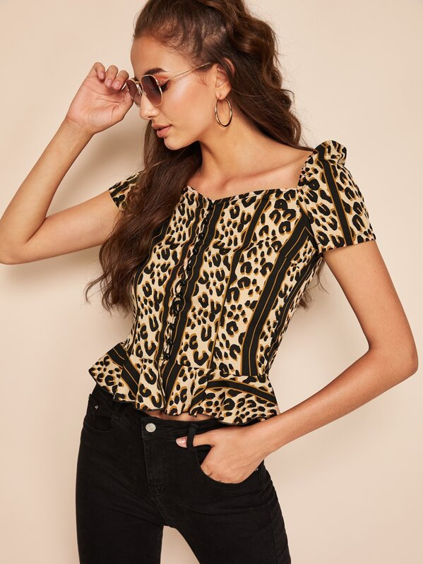 Button Through Leopard Peplum Top, Mariana D