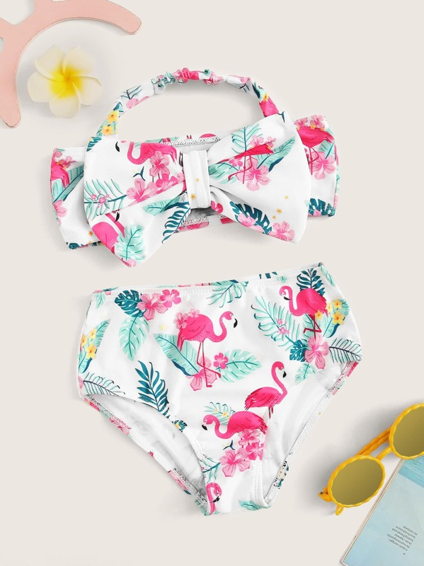 Toddler Girls Random Tropical Bow Decorated Halter Bikini