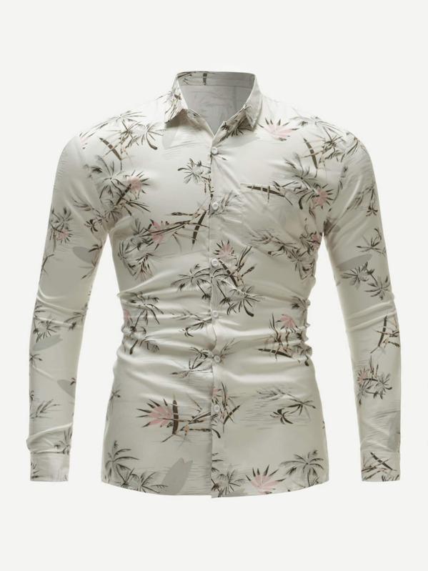 Men Coconut Trees Print Skinny Shirt