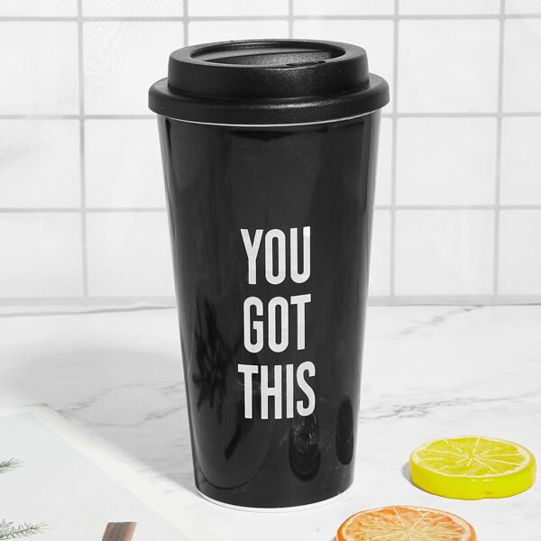 Slogan Print Water Cup